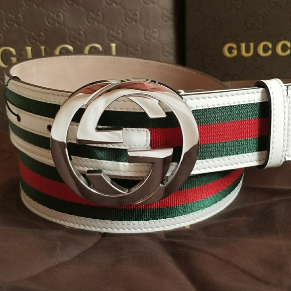 17903b65c7f 👍Authentic Gucci Web Belt White Green Red Stripes
